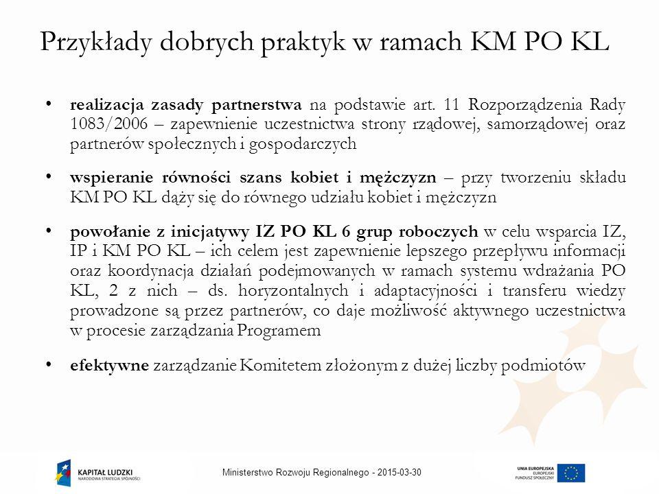 2015-03-30Ministerstwo Rozwoju Regionalnego - Przykłady dobrych praktyk w ramach KM PO KL realizacja zasady partnerstwa na podstawie art.