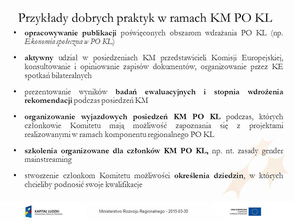 2015-03-30Ministerstwo Rozwoju Regionalnego - Przykłady dobrych praktyk w ramach KM PO KL opracowywanie publikacji poświęconych obszarom wdrażania PO KL (np.