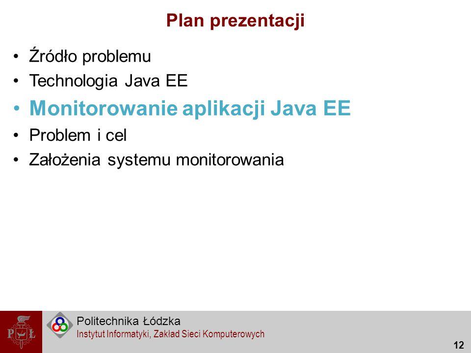 Politechnika Łódzka Instytut Informatyki, Zakład Sieci Komputerowych 12 Plan prezentacji Źródło problemu Technologia Java EE Monitorowanie aplikacji J