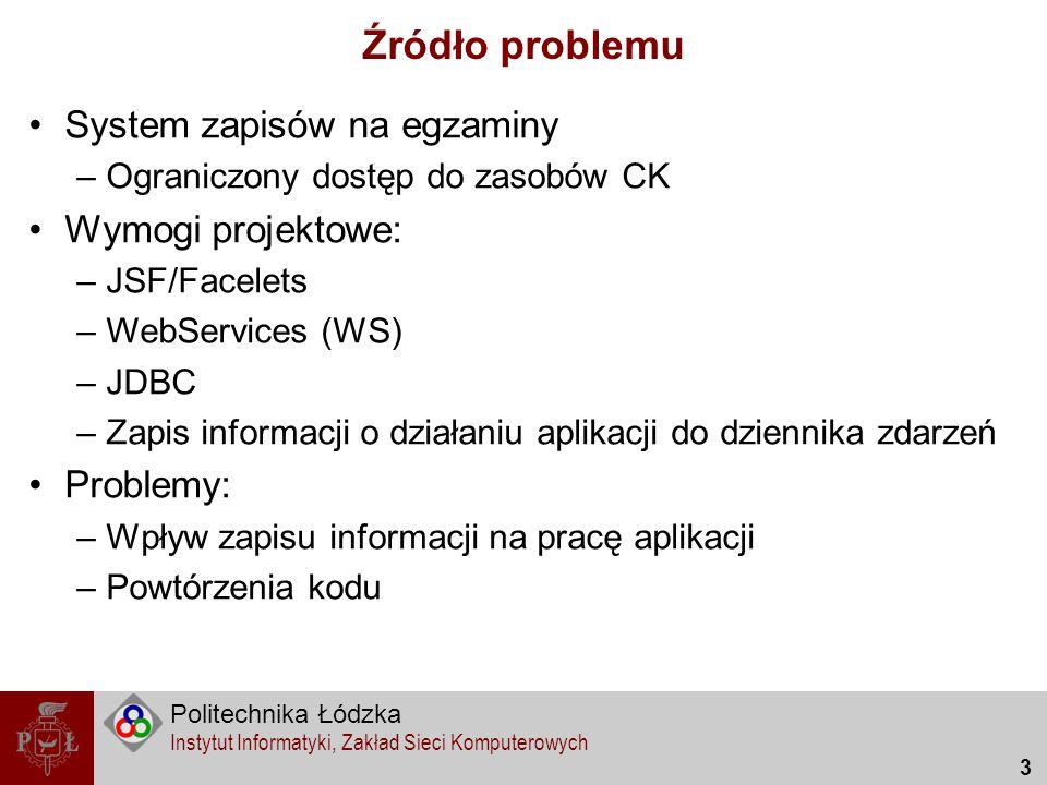 Politechnika Łódzka Instytut Informatyki, Zakład Sieci Komputerowych 3 Źródło problemu System zapisów na egzaminy –Ograniczony dostęp do zasobów CK Wy