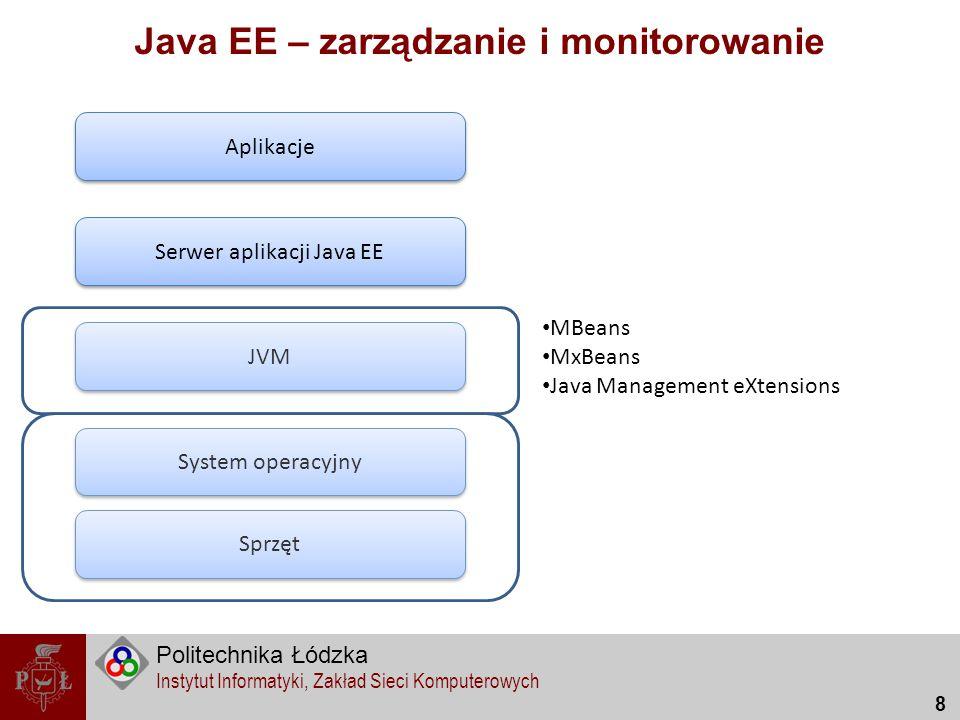 Politechnika Łódzka Instytut Informatyki, Zakład Sieci Komputerowych 9 Java EE – zarządzanie i monitorowanie Sprzęt System operacyjny JVM Serwer aplikacji Java EE Aplikacje Logger (java.util.Logger, log4j) Narzędzie serwera aplikacyjnego Konsola administracyjna