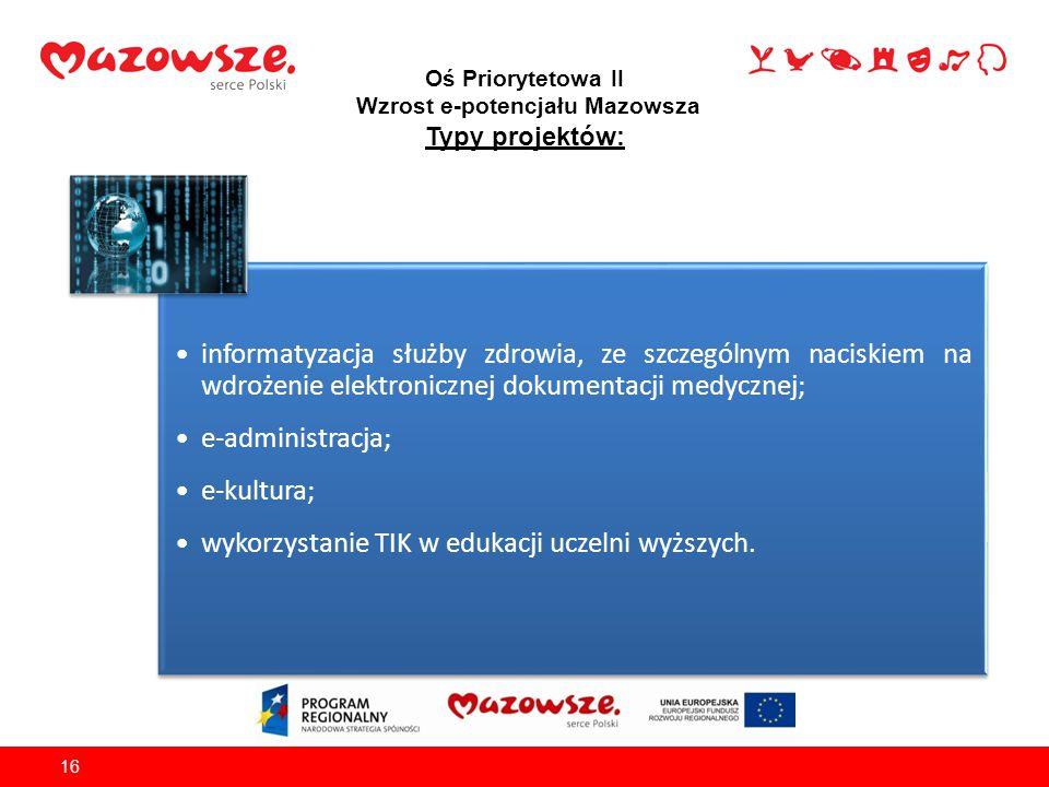 Oś Priorytetowa II Wzrost e-potencjału Mazowsza Typy projektów: 16 informatyzacja służby zdrowia, ze szczególnym naciskiem na wdrożenie elektronicznej