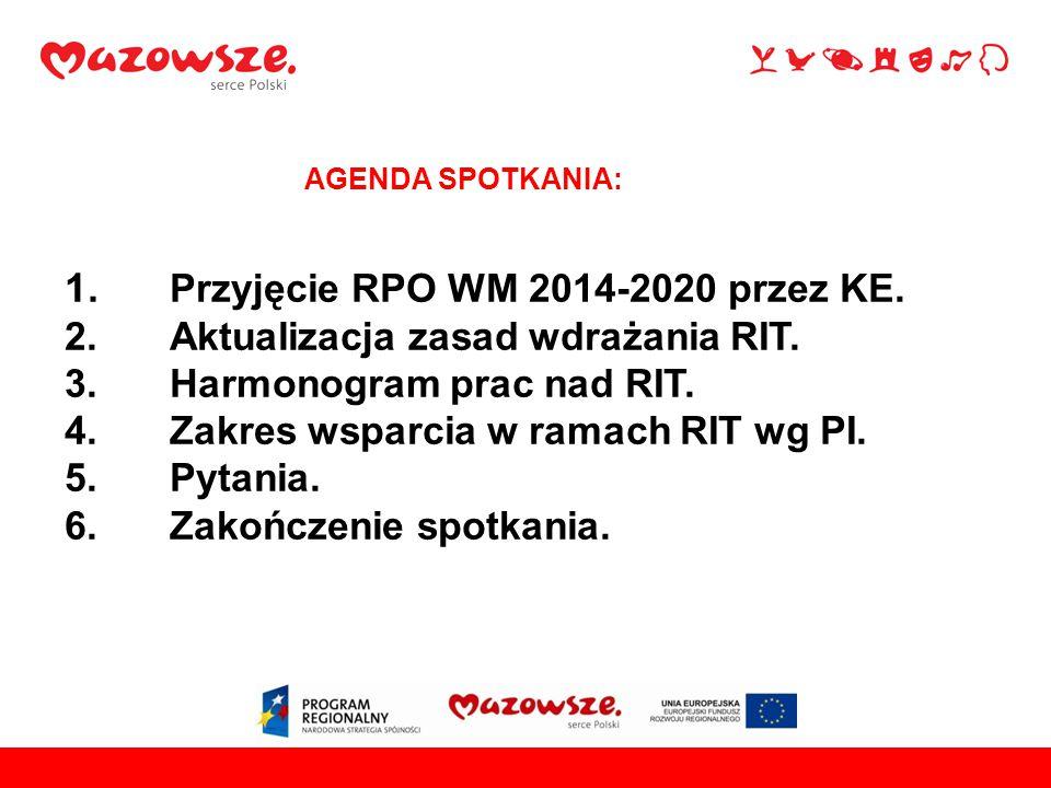 1. Przyjęcie RPO WM 2014-2020 przez KE. 2. Aktualizacja zasad wdrażania RIT. 3.Harmonogram prac nad RIT. 4. Zakres wsparcia w ramach RIT wg PI. 5. Pyt