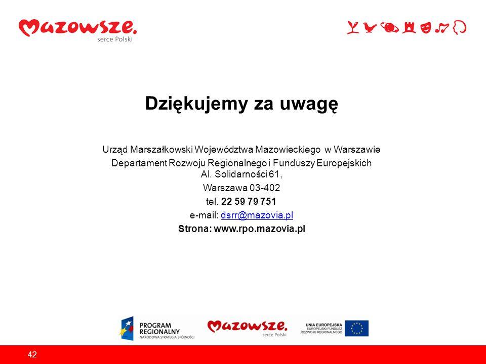 Dziękujemy za uwagę Urząd Marszałkowski Województwa Mazowieckiego w Warszawie Departament Rozwoju Regionalnego i Funduszy Europejskich Al. Solidarnośc