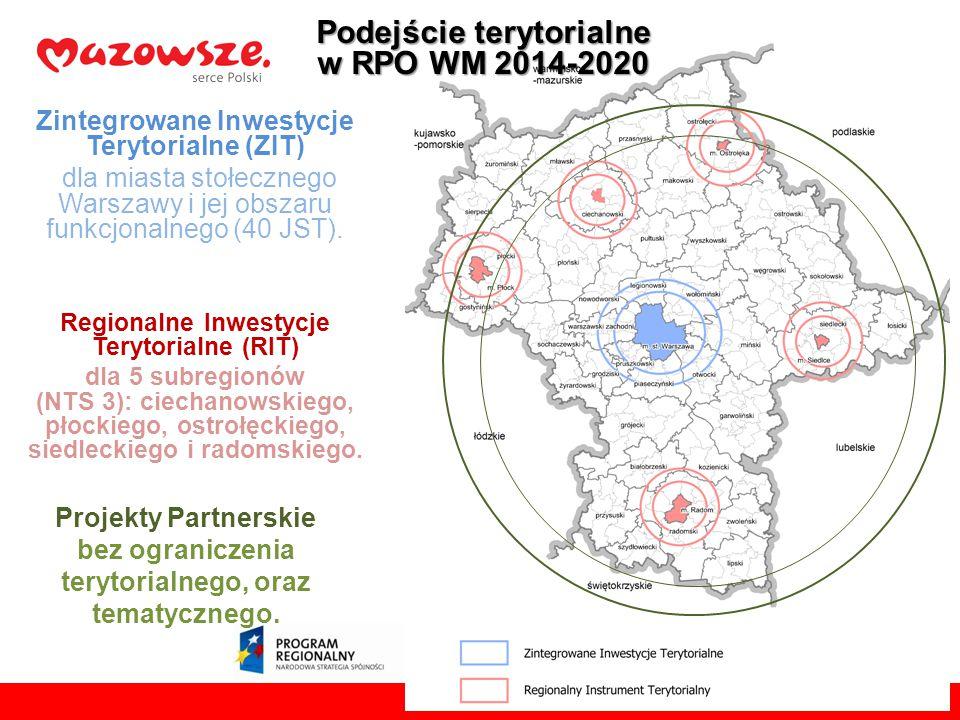 Zintegrowane Inwestycje Terytorialne (ZIT) 165,8 Środki : min 165,8 mln euro Tryb wyboru: konkursowy pozakonkursowy * Wynikające z zapisów Strategii ZIT Regionalne Inwestycje Terytorialne (RIT) 130,0 Środki : min 130,0 mln euro Tryb wyboru: konkursowy (projekty wynikające z planów inwestycyjnych dla subregionów objętych OSI problemowymi) Projekty Partnerskie Środki: brak ustalonego maksymalnego poziomu alokacji w Programie Tryb wyboru: konkursowy z preferencją punktową