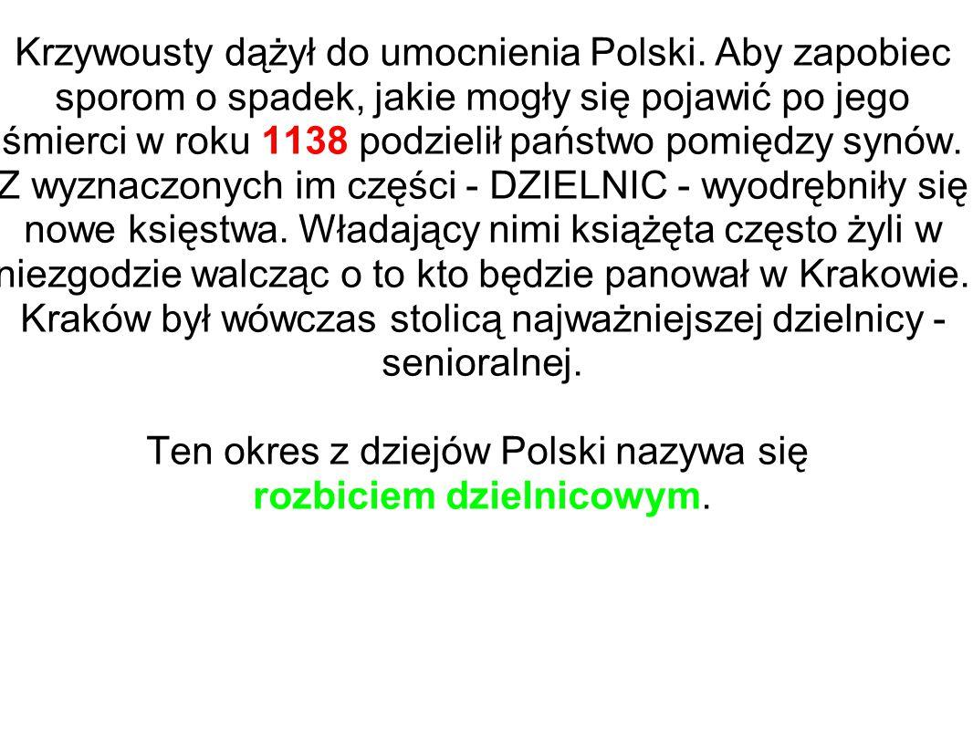 Krzywousty dążył do umocnienia Polski. Aby zapobiec sporom o spadek, jakie mogły się pojawić po jego śmierci w roku 1138 podzielił państwo pomiędzy sy
