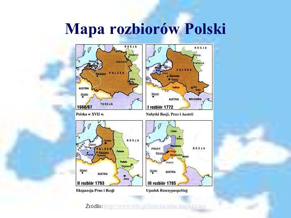 Mapa rozbiorów Polski Źródło: http://www.wiw.pl/historia/atlas/mapa42.asphttp://www.wiw.pl/historia/atlas/mapa42.asp