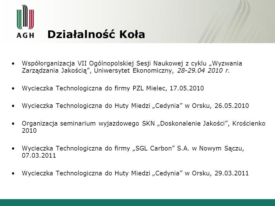 """Działalność Koła Współorganizacja VII Ogólnopolskiej Sesji Naukowej z cyklu """"Wyzwania Zarządzania Jakością , Uniwersytet Ekonomiczny, 28-29.04 2010 r."""