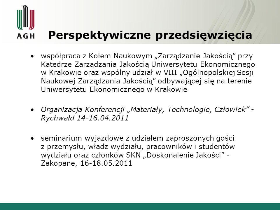 """Perspektywiczne przedsięwzięcia współpraca z Kołem Naukowym """"Zarządzanie Jakością"""" przy Katedrze Zarządzania Jakością Uniwersytetu Ekonomicznego w Kra"""