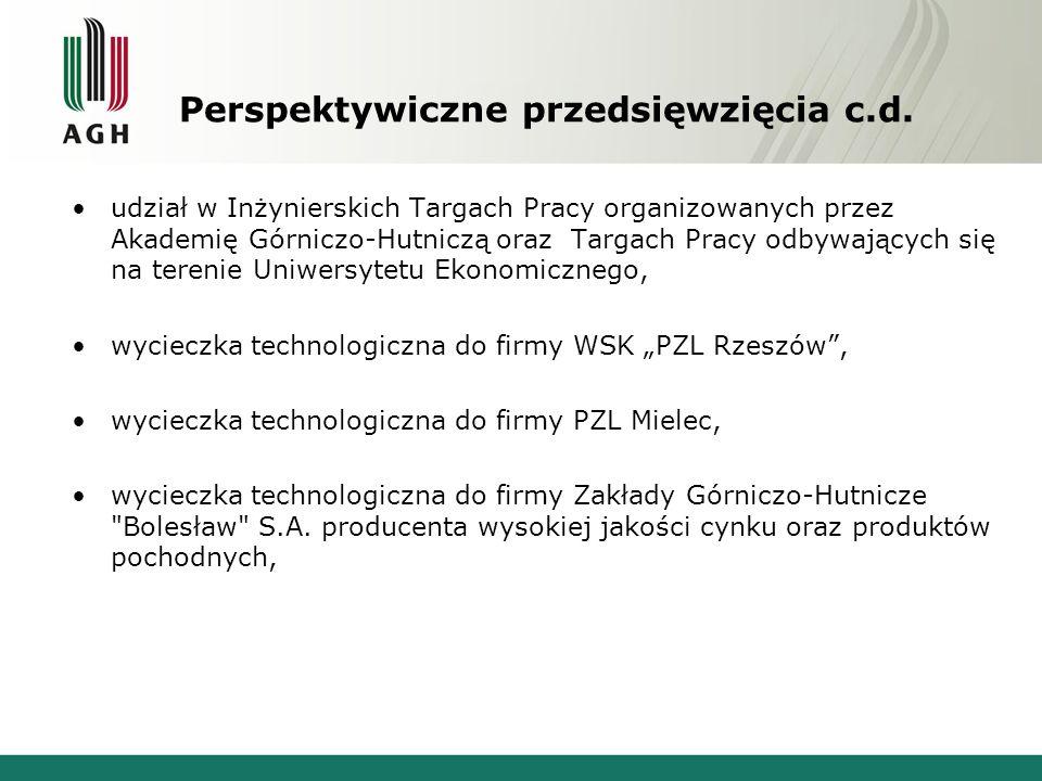 Perspektywiczne przedsięwzięcia c.d. udział w Inżynierskich Targach Pracy organizowanych przez Akademię Górniczo-Hutniczą oraz Targach Pracy odbywając