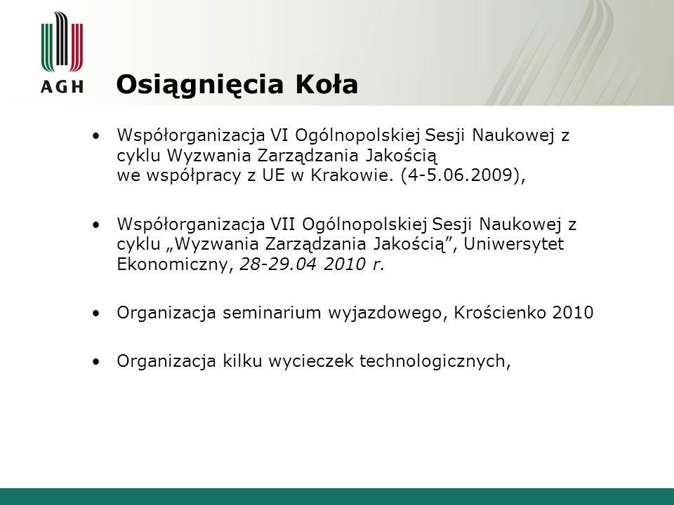Osiągnięcia Koła Współorganizacja VI Ogólnopolskiej Sesji Naukowej z cyklu Wyzwania Zarządzania Jakością we współpracy z UE w Krakowie. (4-5.06.2009),