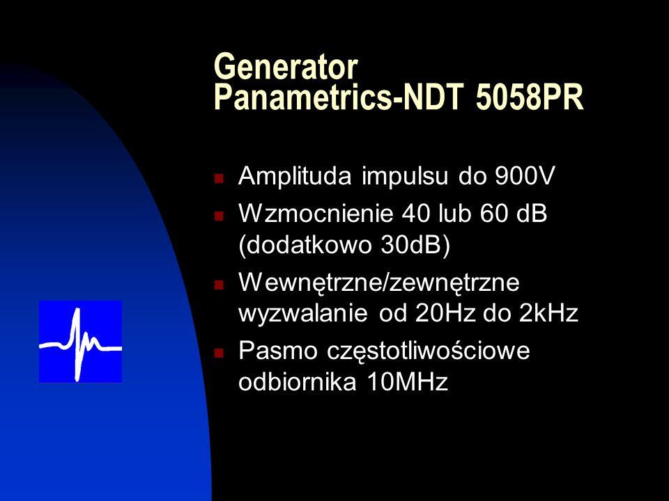 Generator Panametrics-NDT 5058PR Amplituda impulsu do 900V Wzmocnienie 40 lub 60 dB (dodatkowo 30dB) Wewnętrzne/zewnętrzne wyzwalanie od 20Hz do 2kHz Pasmo częstotliwościowe odbiornika 10MHz