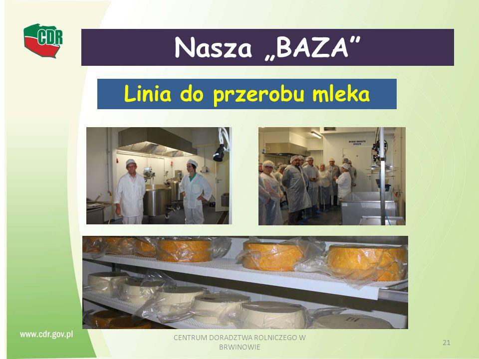 """CENTRUM DORADZTWA ROLNICZEGO W BRWINOWIE 21 Nasza """"BAZA"""" Linia do przerobu mleka"""