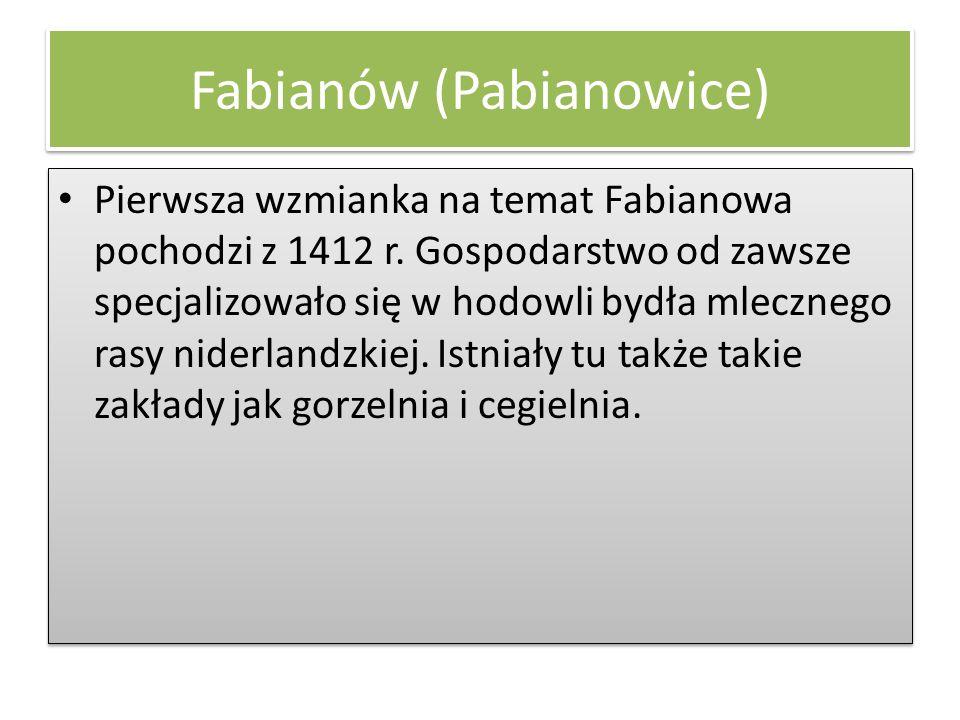 Fabianów (Pabianowice) Pierwsza wzmianka na temat Fabianowa pochodzi z 1412 r. Gospodarstwo od zawsze specjalizowało się w hodowli bydła mlecznego ras