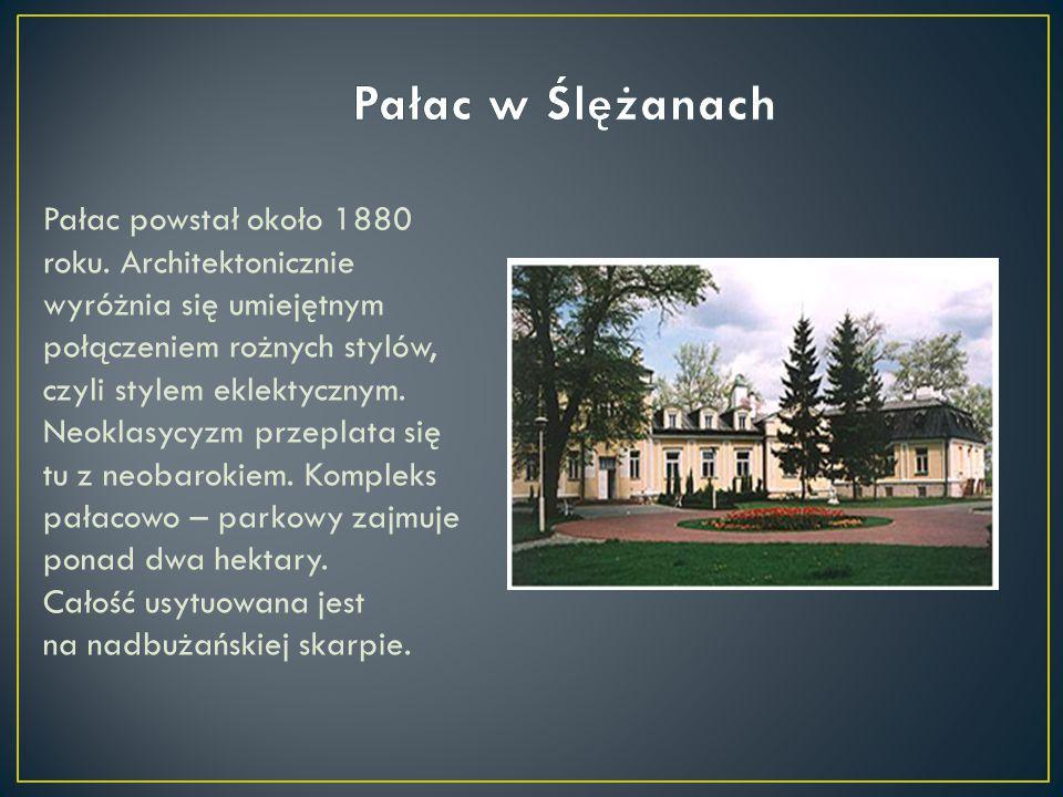 Pałac powstał około 1880 roku. Architektonicznie wyróżnia się umiejętnym połączeniem rożnych stylów, czyli stylem eklektycznym. Neoklasycyzm przeplata
