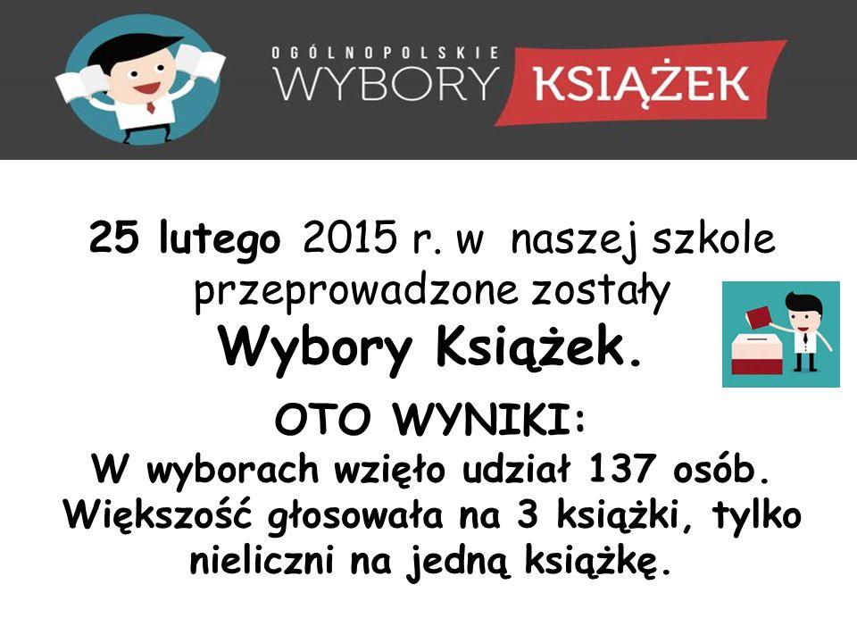 25 lutego 2015 r. w naszej szkole przeprowadzone zostały Wybory Książek.