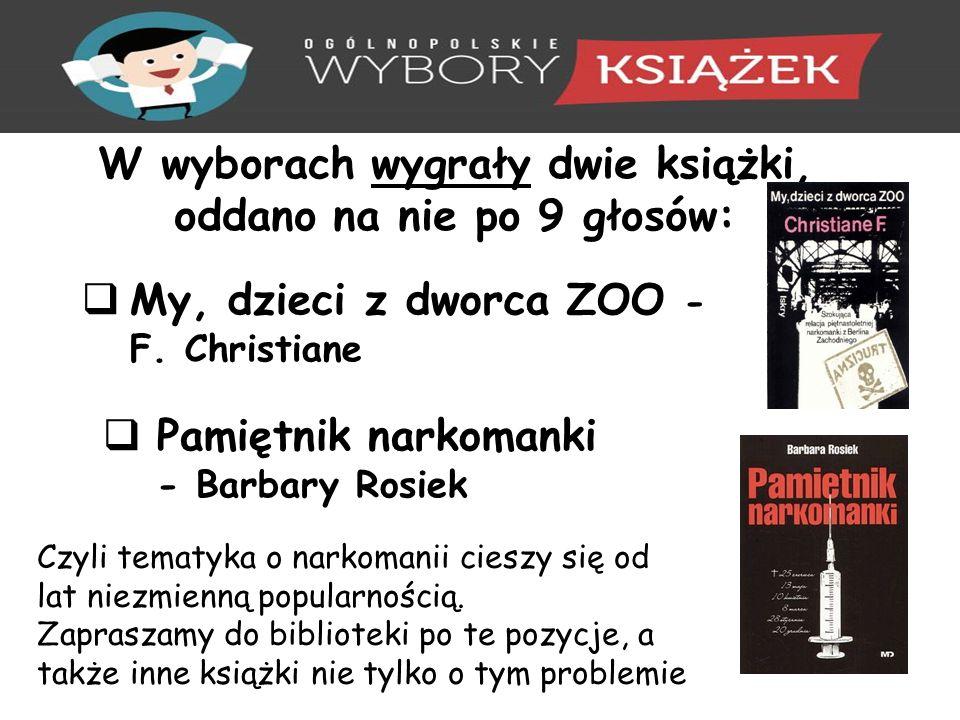W wyborach wygrały dwie książki, oddano na nie po 9 głosów:  My, dzieci z dworca ZOO - F.