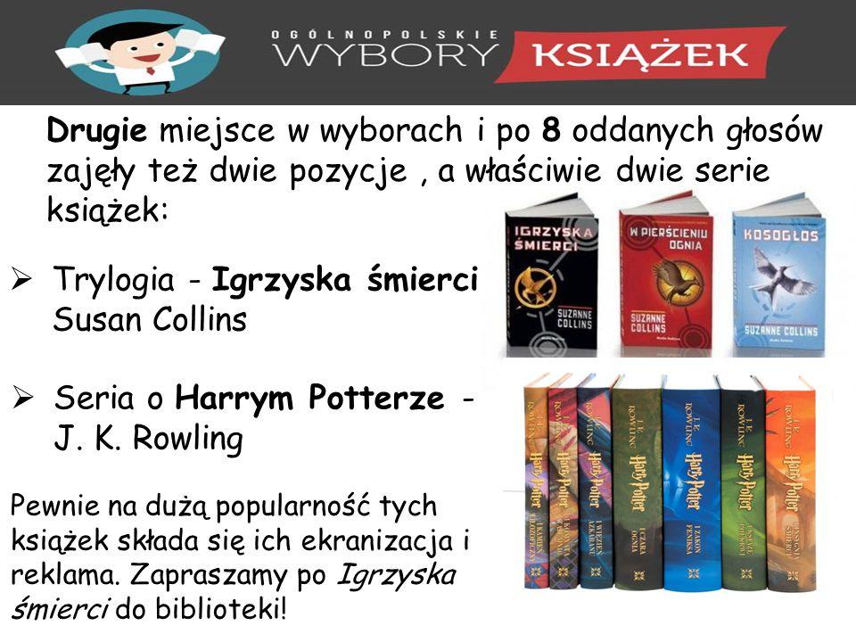 Drugie miejsce w wyborach i po 8 oddanych głosów zajęły też dwie pozycje, a właściwie dwie serie książek:  Trylogia - Igrzyska śmierci Susan Collins  Seria o Harrym Potterze - J.