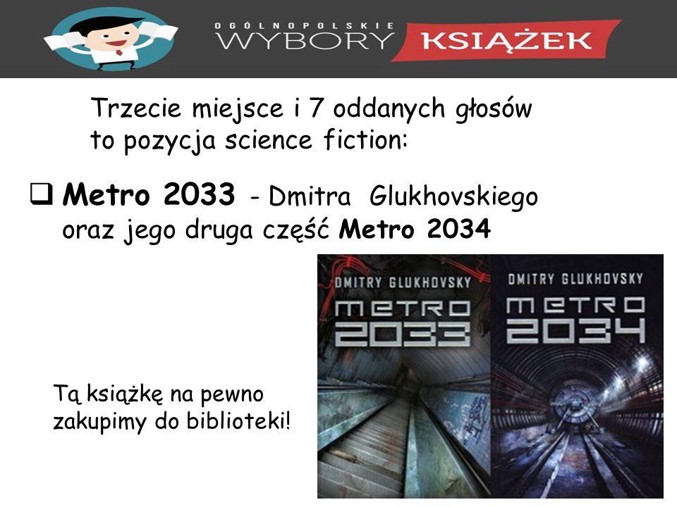 Trzecie miejsce i 7 oddanych głosów to pozycja science fiction:  Metro 2033 - Dmitra Glukhovskiego oraz jego druga część Metro 2034 Tą książkę na pewno zakupimy do biblioteki!