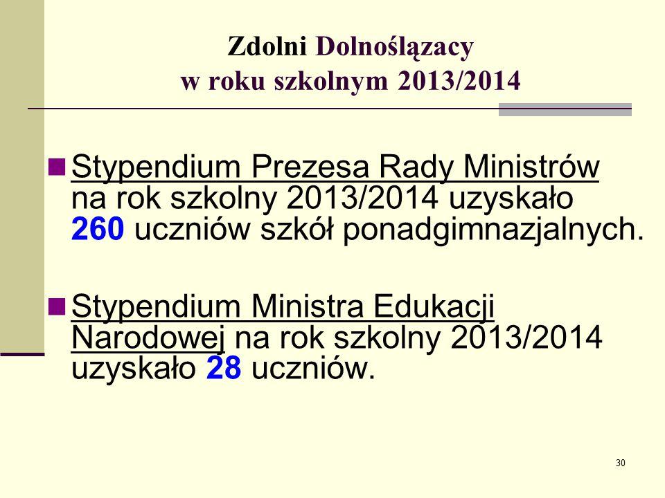 Zdolni Dolnoślązacy w roku szkolnym 2013/2014 Stypendium Prezesa Rady Ministrów na rok szkolny 2013/2014 uzyskało 260 uczniów szkół ponadgimnazjalnych.