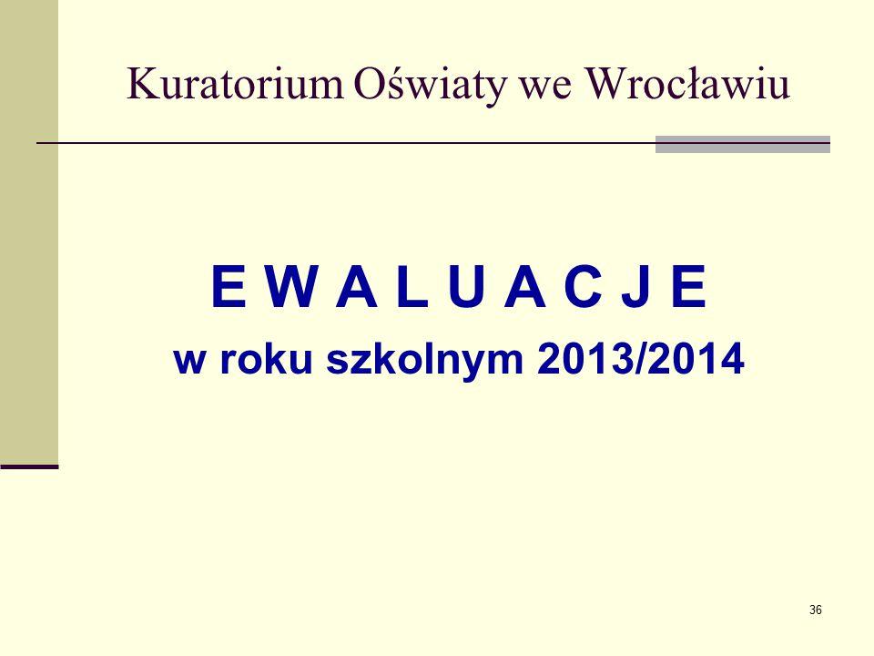Kuratorium Oświaty we Wrocławiu E W A L U A C J E w roku szkolnym 2013/2014 36
