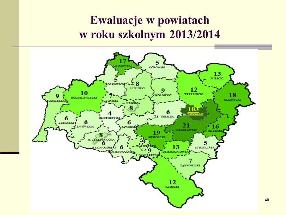Ewaluacje w powiatach w roku szkolnym 2013/2014 40