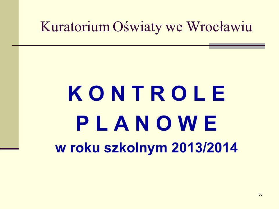 Kuratorium Oświaty we Wrocławiu K O N T R O L E P L A N O W E w roku szkolnym 2013/2014 56