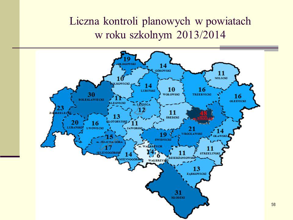 Liczna kontroli planowych w powiatach w roku szkolnym 2013/2014 58