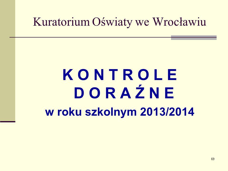 Kuratorium Oświaty we Wrocławiu K O N T R O L E D O R A Ź N E w roku szkolnym 2013/2014 69