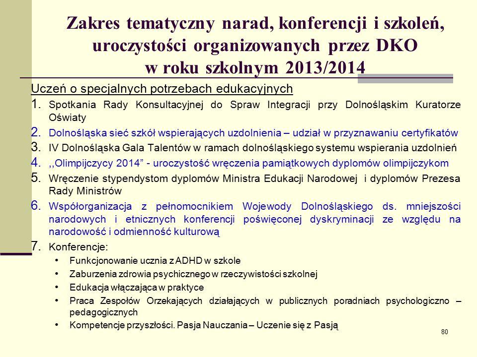Zakres tematyczny narad, konferencji i szkoleń, uroczystości organizowanych przez DKO w roku szkolnym 2013/2014 Uczeń o specjalnych potrzebach edukacyjnych 1.