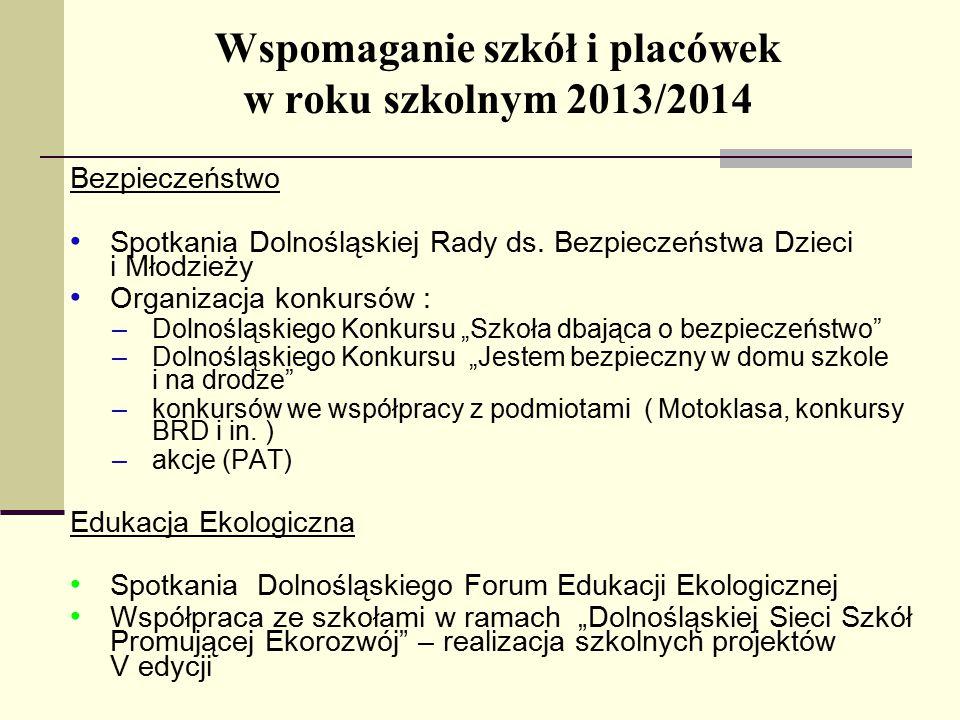 Wspomaganie szkół i placówek w roku szkolnym 2013/2014 Bezpieczeństwo Spotkania Dolnośląskiej Rady ds.
