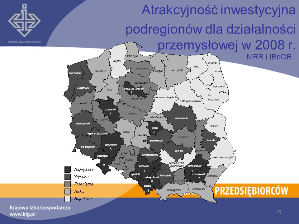 Atrakcyjność inwestycyjna podregionów dla działalności przemysłowej w 2008 r. 15 MRR i IBnGR