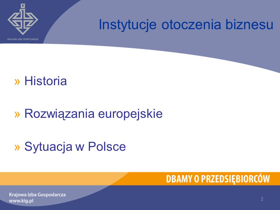 »Historia »Rozwiązania europejskie »Sytuacja w Polsce Instytucje otoczenia biznesu 2