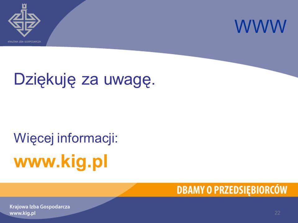 WWW Dziękuję za uwagę. Więcej informacji: www.kig.pl 22