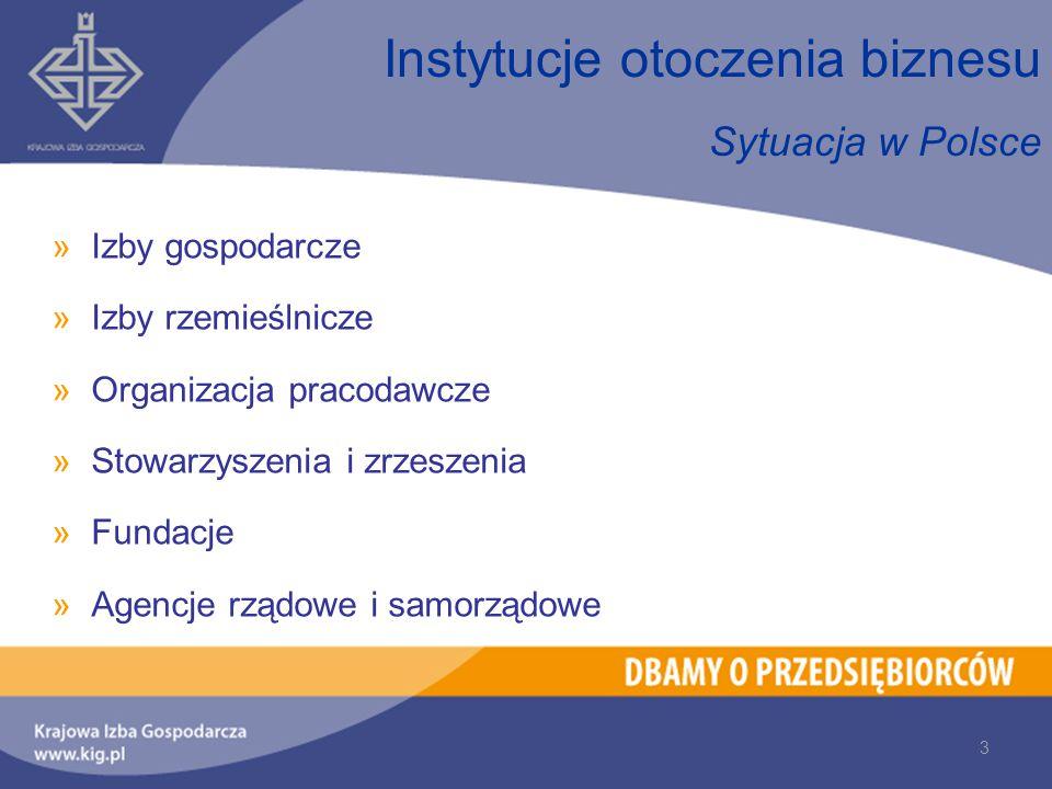 3 Sytuacja w Polsce »Izby gospodarcze »Izby rzemieślnicze »Organizacja pracodawcze »Stowarzyszenia i zrzeszenia »Fundacje »Agencje rządowe i samorządowe