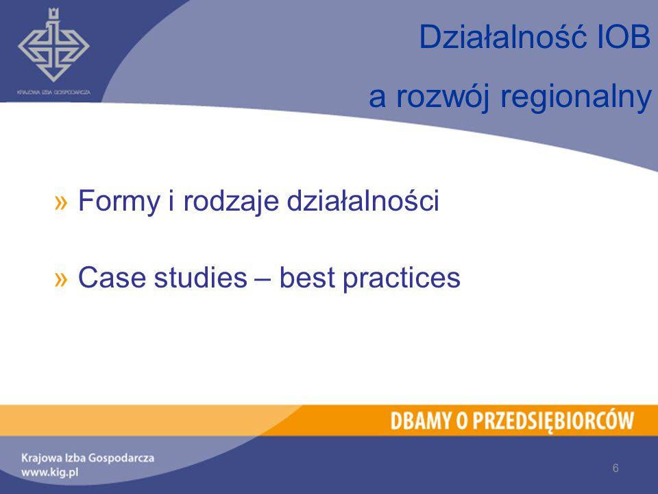 »Formy i rodzaje działalności »Case studies – best practices Działalność IOB a rozwój regionalny 6