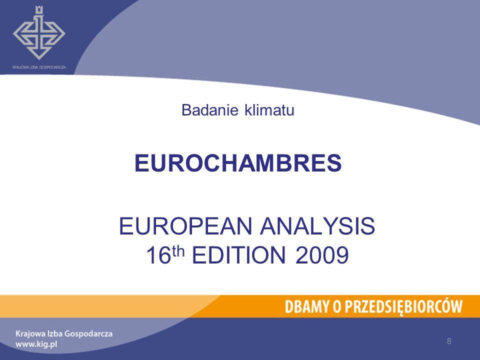 Badanie klimatu EUROCHAMBRES EUROPEAN ANALYSIS 16 th EDITION 2009 8