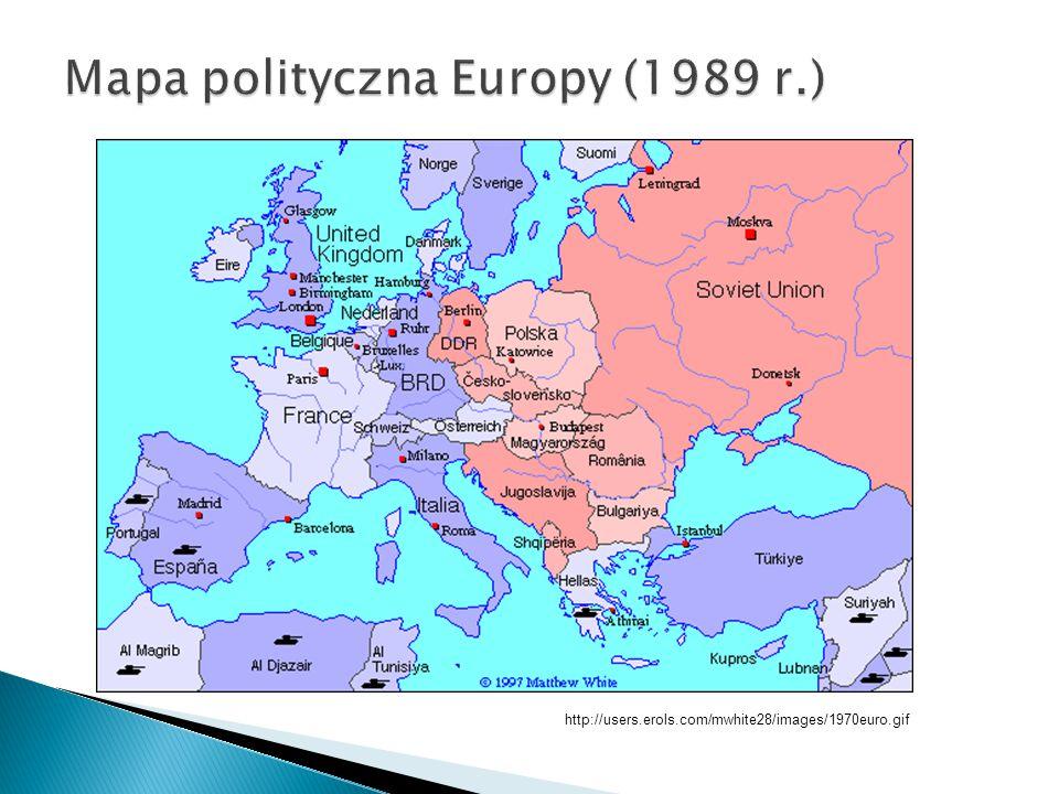  Rozpad ZSRR na: Białoruś, Estonię, Gruzję, Litwę, Łotwę, Kazachstan, Mołdawię, Rosję, Ukrainę a także: Armenię, Azerbejdżan, Kirgistan, Tadżykistan, Turkmenistan, Uzbekistan.