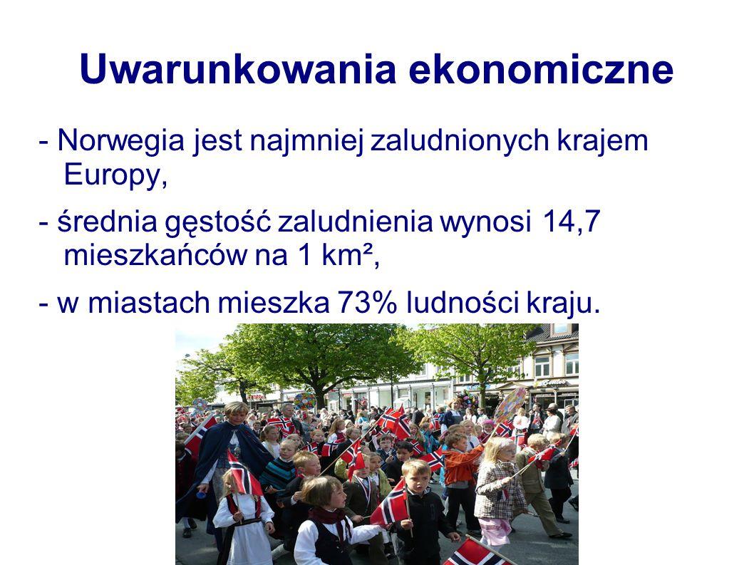 Uwarunkowania ekonomiczne - Norwegia jest najmniej zaludnionych krajem Europy, - średnia gęstość zaludnienia wynosi 14,7 mieszkańców na 1 km², - w mia
