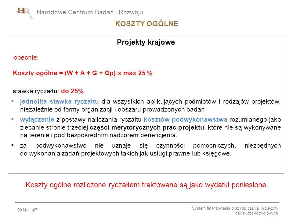 Narodowe Centrum Badań i Rozwoju Projekty krajowe obecnie: Koszty ogólne = (W + A + G + Op) x max 25 % stawka ryczałtu: do 25%  jednolita stawka rycz