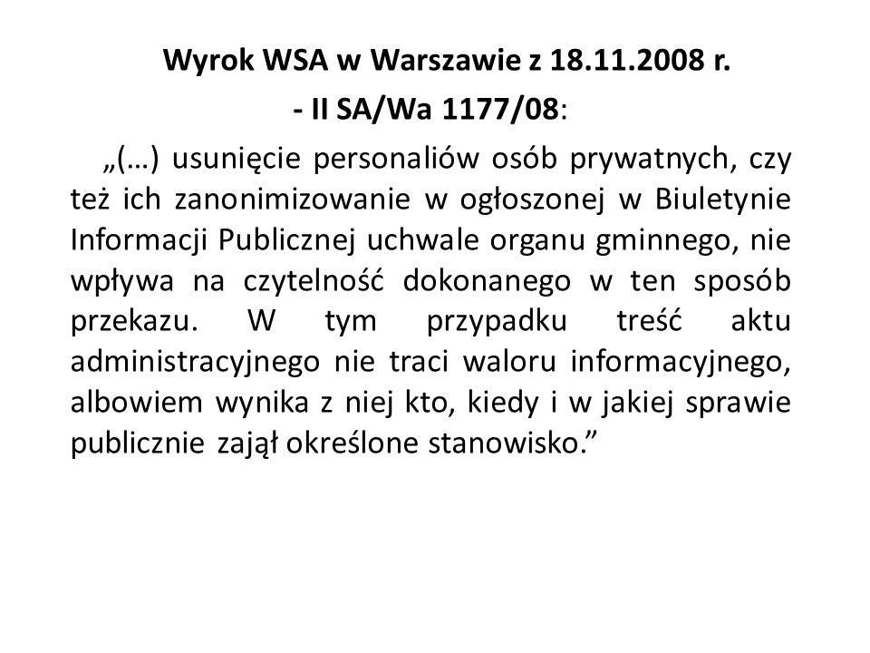 Wyrok WSA w Warszawie z 18.11.2008 r.