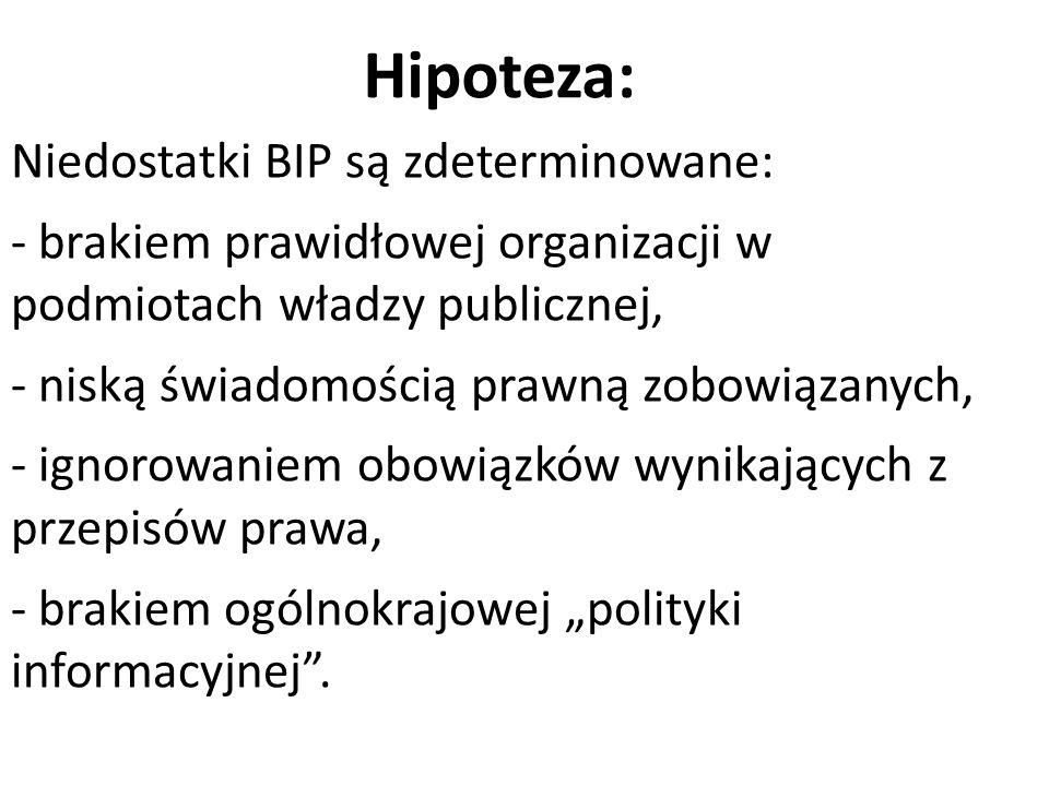 """Hipoteza: Niedostatki BIP są zdeterminowane: - brakiem prawidłowej organizacji w podmiotach władzy publicznej, - niską świadomością prawną zobowiązanych, - ignorowaniem obowiązków wynikających z przepisów prawa, - brakiem ogólnokrajowej """"polityki informacyjnej ."""