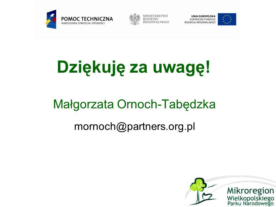 Dziękuję za uwagę! Małgorzata Ornoch-Tabędzka mornoch@partners.org.pl