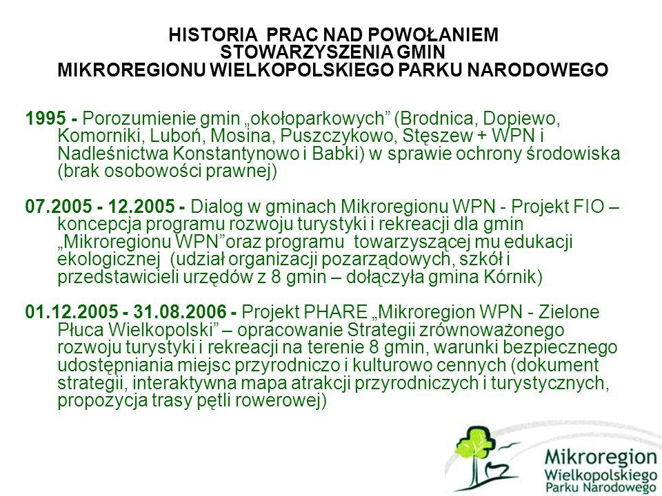 """1995 - Porozumienie gmin """"okołoparkowych (Brodnica, Dopiewo, Komorniki, Luboń, Mosina, Puszczykowo, Stęszew + WPN i Nadleśnictwa Konstantynowo i Babki) w sprawie ochrony środowiska (brak osobowości prawnej) 07.2005 - 12.2005 - Dialog w gminach Mikroregionu WPN - Projekt FIO – koncepcja programu rozwoju turystyki i rekreacji dla gmin """"Mikroregionu WPN oraz programu towarzyszącej mu edukacji ekologicznej (udział organizacji pozarządowych, szkół i przedstawicieli urzędów z 8 gmin – dołączyła gmina Kórnik) 01.12.2005 - 31.08.2006 - Projekt PHARE """"Mikroregion WPN - Zielone Płuca Wielkopolski – opracowanie Strategii zrównoważonego rozwoju turystyki i rekreacji na terenie 8 gmin, warunki bezpiecznego udostępniania miejsc przyrodniczo i kulturowo cennych (dokument strategii, interaktywna mapa atrakcji przyrodniczych i turystycznych, propozycja trasy pętli rowerowej) HISTORIA PRAC NAD POWOŁANIEM STOWARZYSZENIA GMIN MIKROREGIONU WIELKOPOLSKIEGO PARKU NARODOWEGO"""