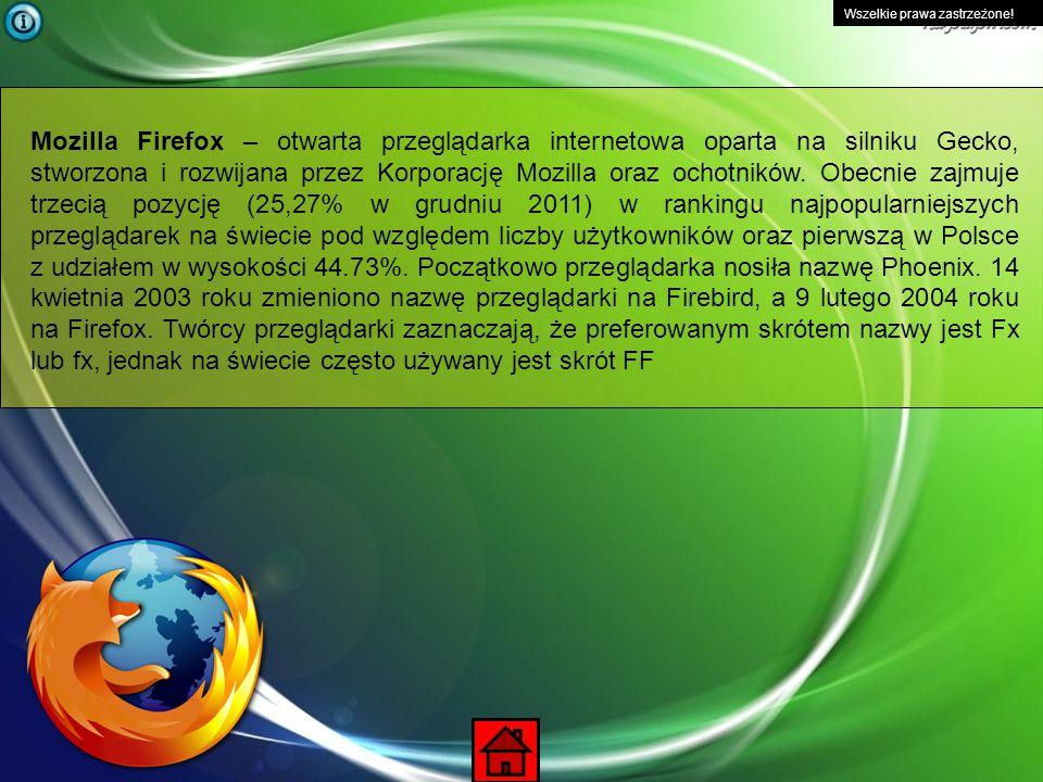 Wszelkie prawa zastrzeżone! Windows Internet Explorer (wcześniej Microsoft Internet Explorer) – przeglądarka internetowa (dosł. Eksplorator Internetu)