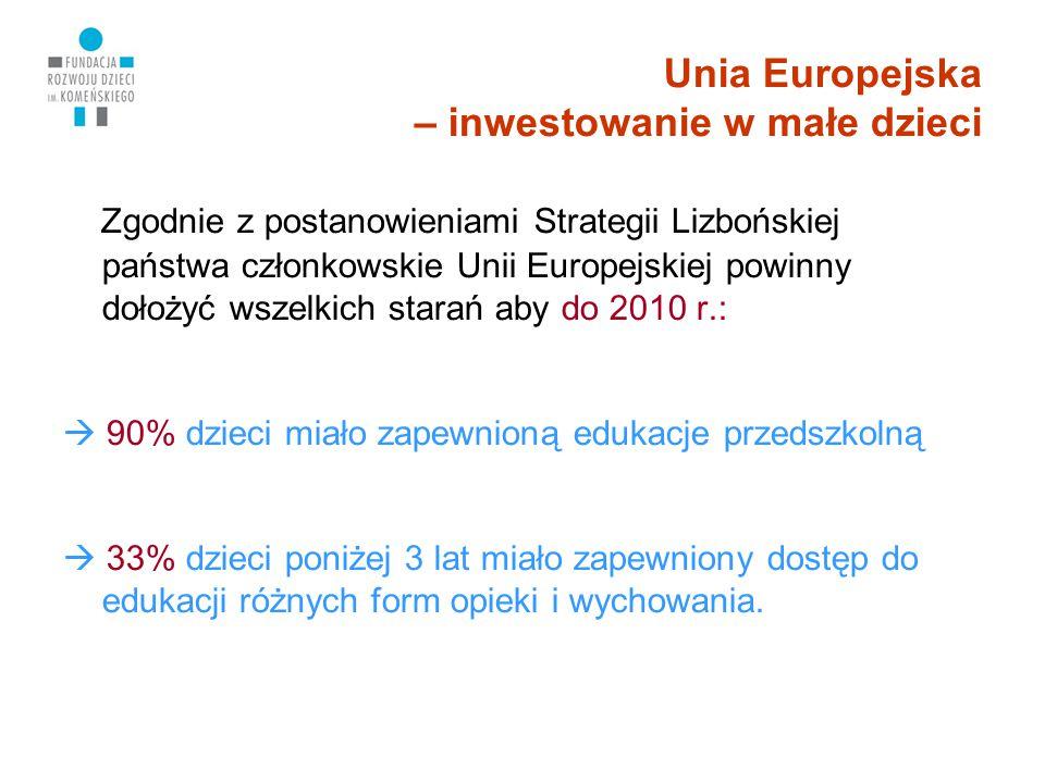 Unia Europejska – inwestowanie w małe dzieci Zgodnie z postanowieniami Strategii Lizbońskiej państwa członkowskie Unii Europejskiej powinny dołożyć ws