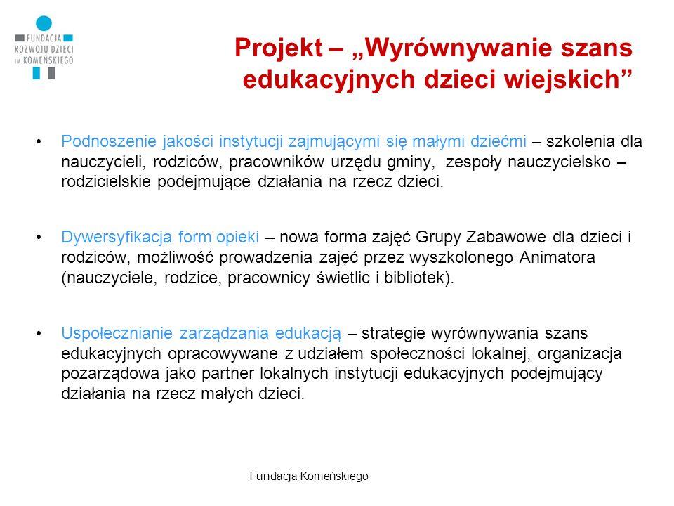 """Projekt – """"Wyrównywanie szans edukacyjnych dzieci wiejskich"""" Podnoszenie jakości instytucji zajmującymi się małymi dziećmi – szkolenia dla nauczycieli"""