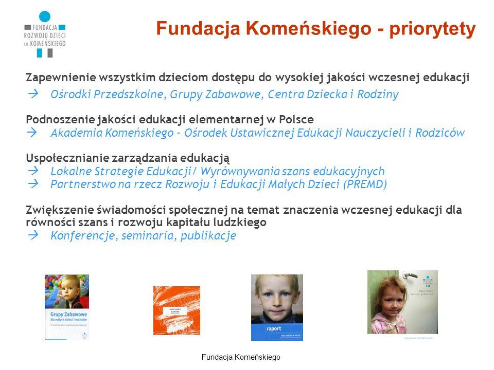 Fundacja Komeńskiego - priorytety Zapewnienie wszystkim dzieciom dostępu do wysokiej jakości wczesnej edukacji  Ośrodki Przedszkolne, Grupy Zabawowe