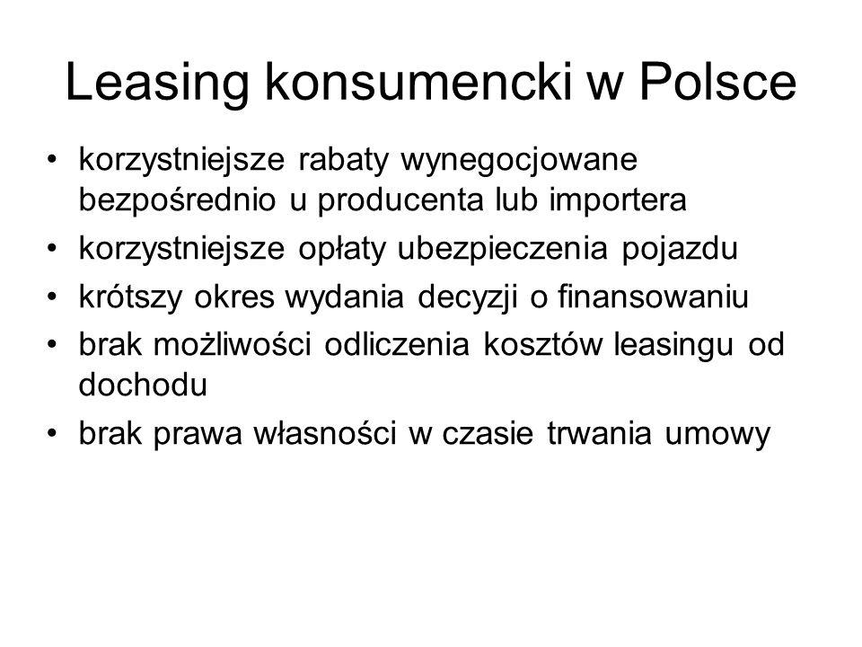 Leasing konsumencki w Polsce korzystniejsze rabaty wynegocjowane bezpośrednio u producenta lub importera korzystniejsze opłaty ubezpieczenia pojazdu k