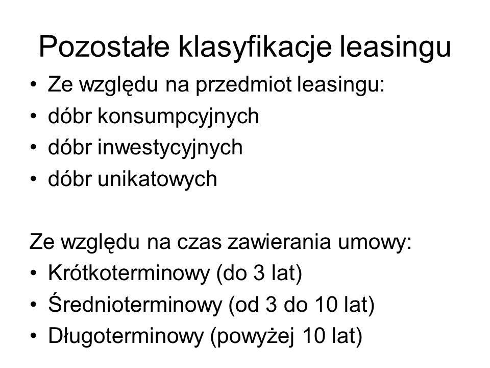 Pozostałe klasyfikacje leasingu Ze względu na przedmiot leasingu: dóbr konsumpcyjnych dóbr inwestycyjnych dóbr unikatowych Ze względu na czas zawieran